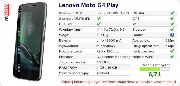 Dane telefonu Lenovo Moto G4 Play