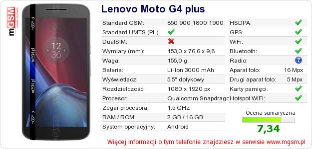 Dane telefonu Lenovo Moto G4 plus
