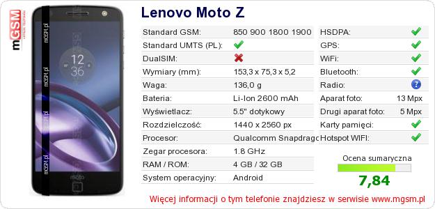 Dane telefonu Lenovo Moto Z