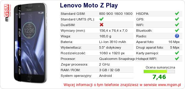 Dane telefonu Lenovo Moto Z Play