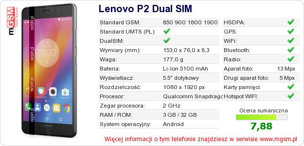 Dane telefonu Lenovo P2 Dual SIM