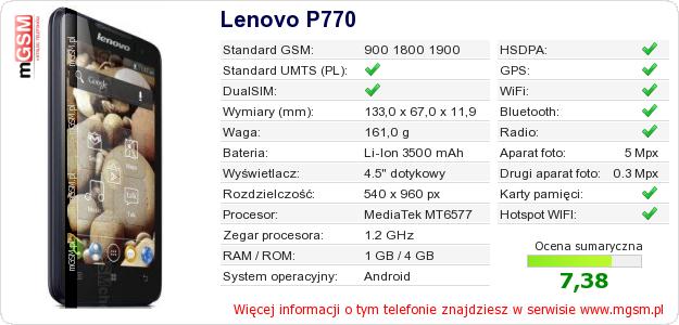 Dane telefonu Lenovo P770