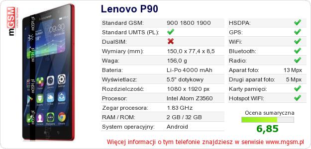 Dane telefonu Lenovo P90