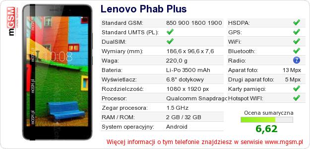 Dane telefonu Lenovo Phab Plus