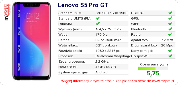 Dane telefonu Lenovo S5 Pro GT