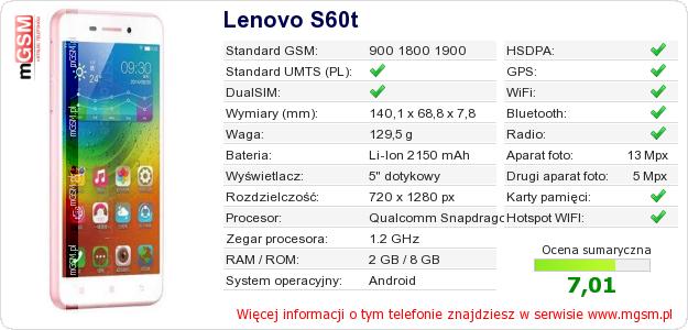 Dane telefonu Lenovo S60t