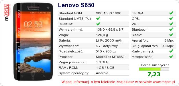 Dane telefonu Lenovo S650