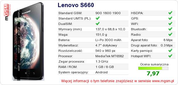 Dane telefonu Lenovo S660