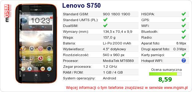 Dane telefonu Lenovo S750