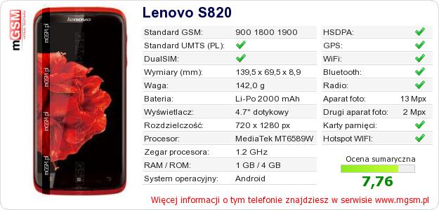 Dane telefonu Lenovo S820