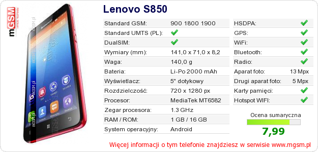 Dane telefonu Lenovo S850