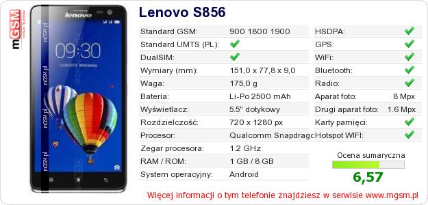 Dane telefonu Lenovo S856
