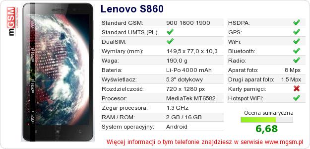 Dane telefonu Lenovo S860