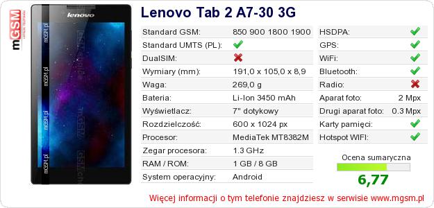 Dane telefonu Lenovo Tab 2 A7-30 3G