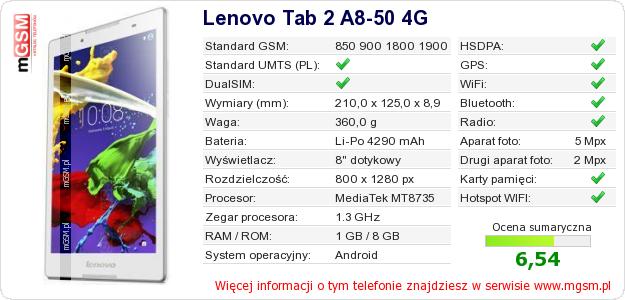 Dane telefonu Lenovo Tab 2 A8-50 4G