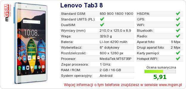 Dane telefonu Lenovo Tab3 8