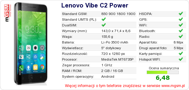 Dane telefonu Lenovo Vibe C2 Power