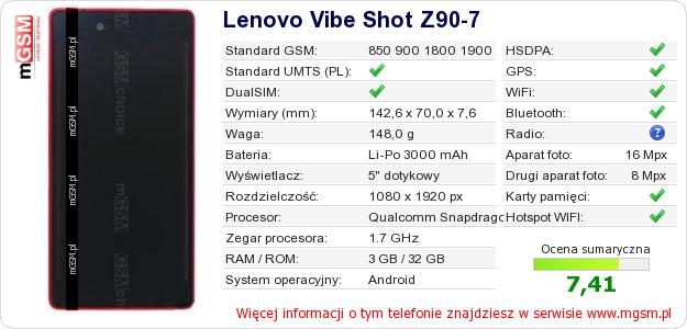 Dane telefonu Lenovo Vibe Shot Z90-7
