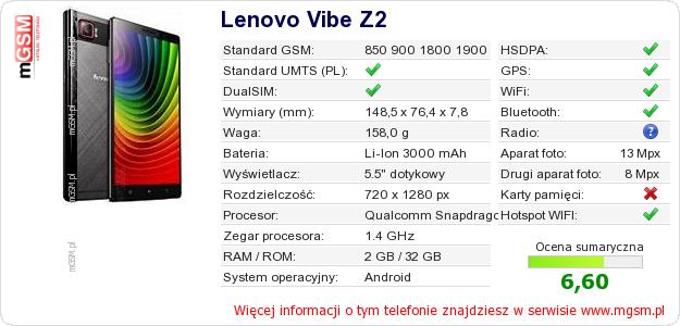 Dane telefonu Lenovo Vibe Z2