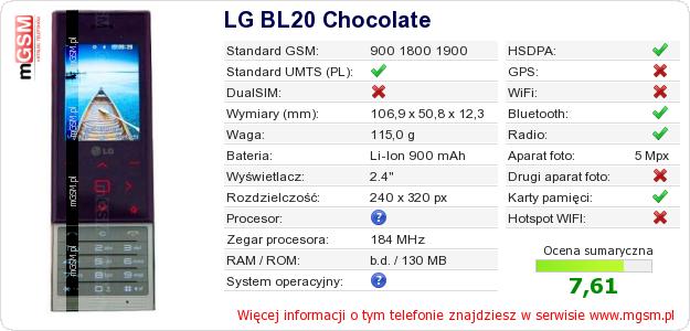 Dane telefonu LG BL20 Chocolate