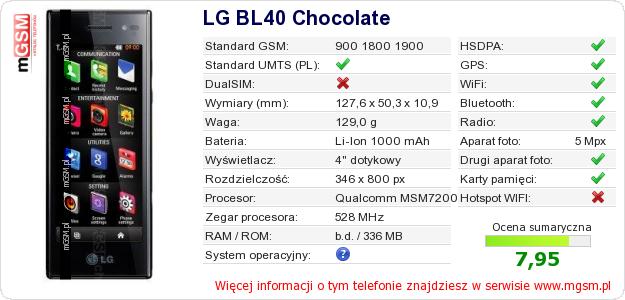 Dane telefonu LG BL40 Chocolate
