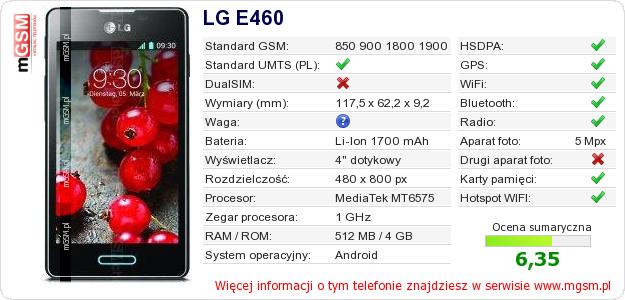 Dane telefonu LG E460