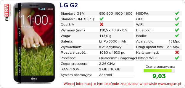 Dane telefonu LG G2