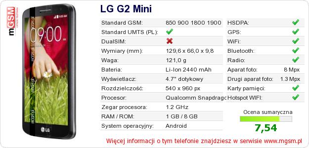 Dane telefonu LG G2 Mini