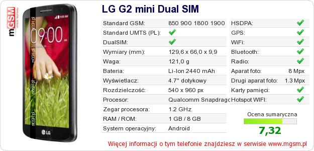 Dane telefonu LG G2 mini Dual SIM