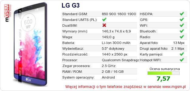 Dane telefonu LG G3