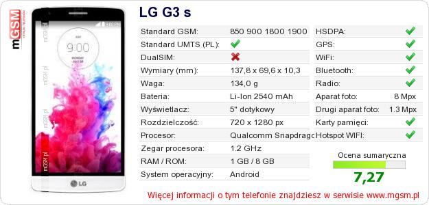 Dane telefonu LG G3 s