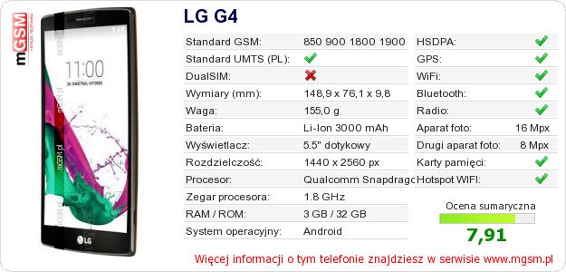 Dane telefonu LG G4