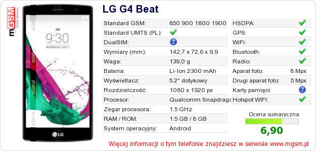 Dane telefonu LG G4 Beat