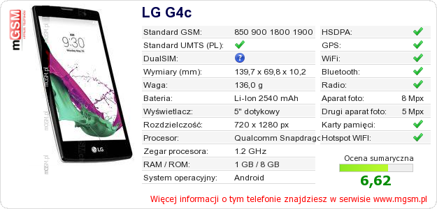 Dane telefonu LG G4c