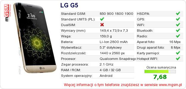 Dane telefonu LG G5