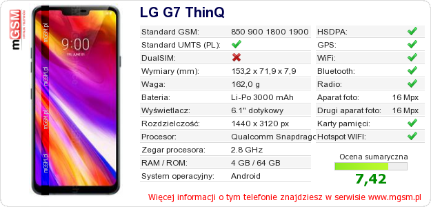 Dane telefonu LG G7 ThinQ