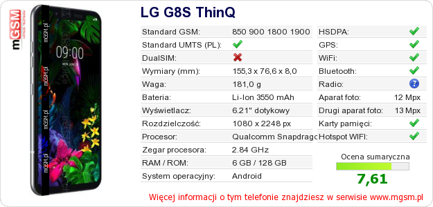 Dane telefonu LG G8S ThinQ