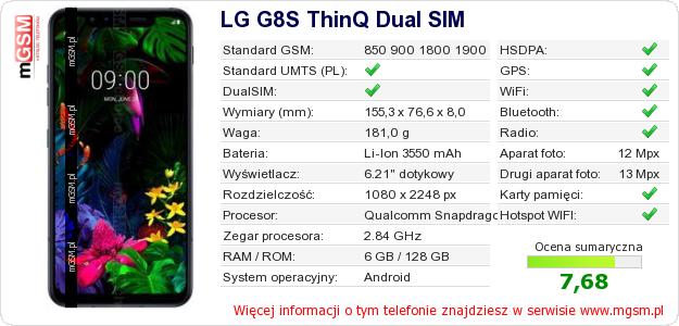 Dane telefonu LG G8S ThinQ Dual SIM