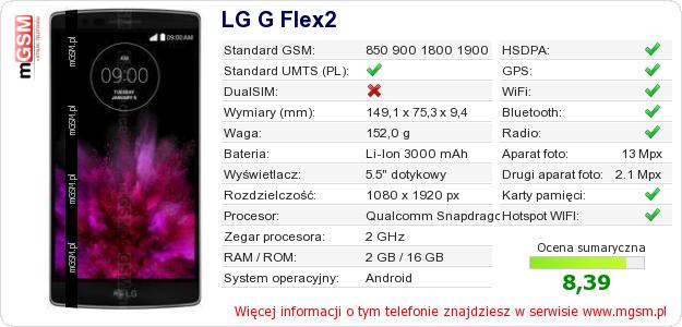 Dane telefonu LG G Flex2