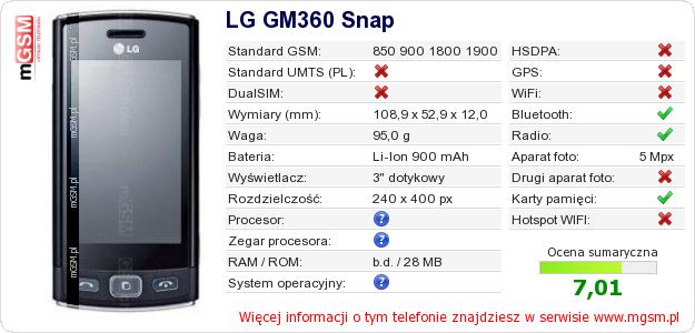 Dane telefonu LG GM360 Snap