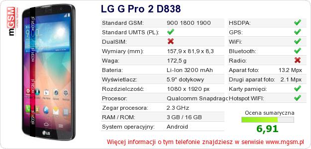 Dane telefonu LG G Pro 2 D838