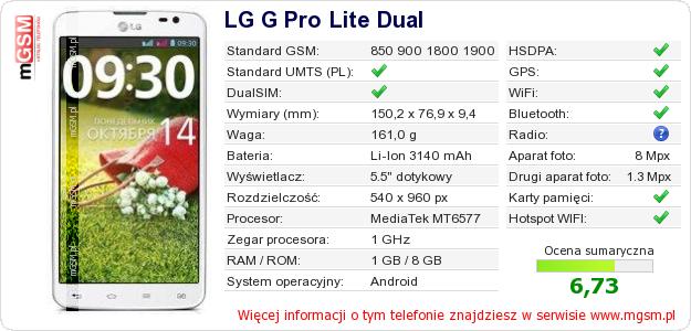 Dane telefonu LG G Pro Lite Dual
