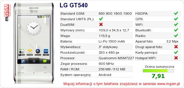 Dane telefonu LG GT540