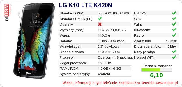Dane telefonu LG K10 LTE K420N