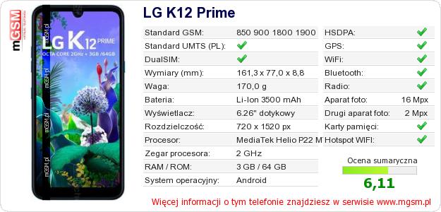 Dane telefonu LG K12 Prime