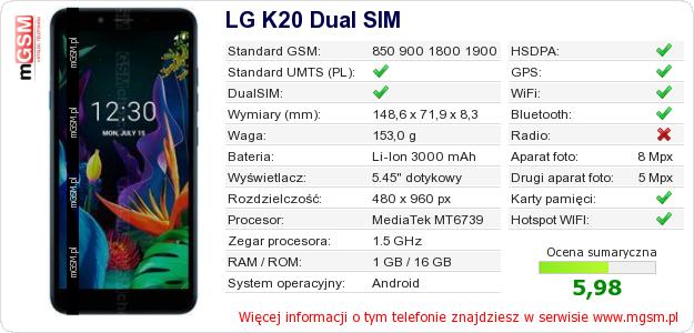 Dane telefonu LG K20 Dual SIM
