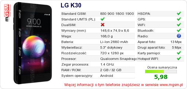 Dane telefonu LG K30