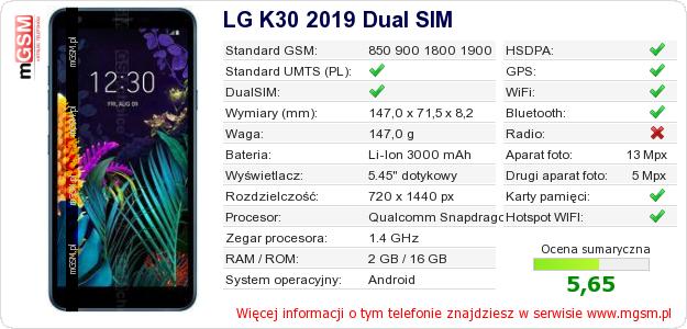 Dane telefonu LG K30 2019 Dual SIM