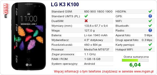 Dane telefonu LG K3 K100