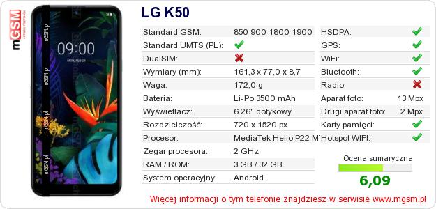Dane telefonu LG K50
